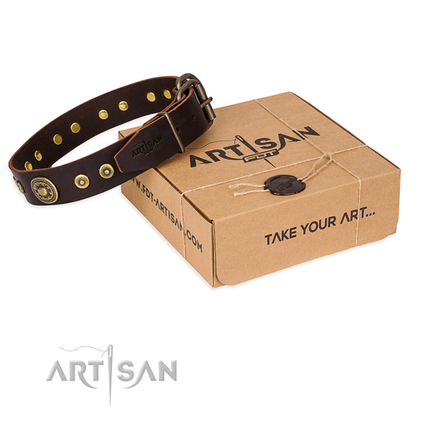 Natural genuine leather dog collar made of quality material with strong buckle