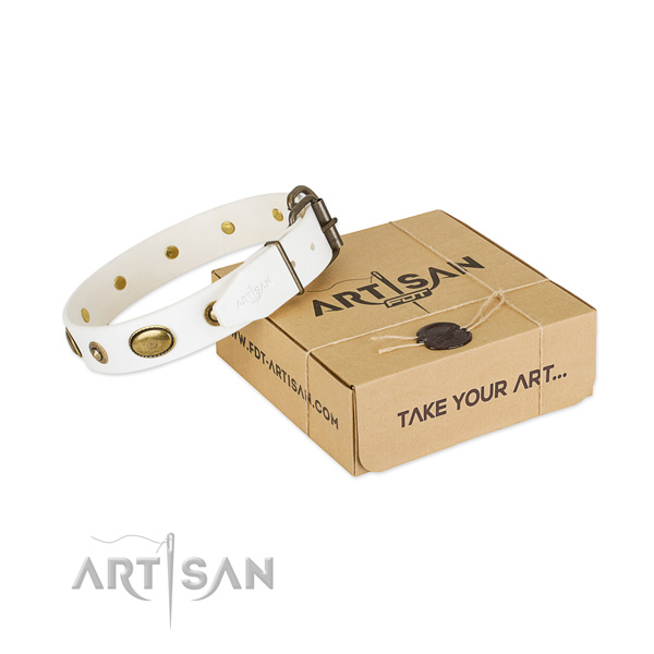 Best quality full grain natural leather collar for your lovely four-legged friend