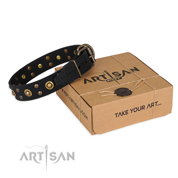 Rust-proof hardware on full grain leather collar for your handsome dog