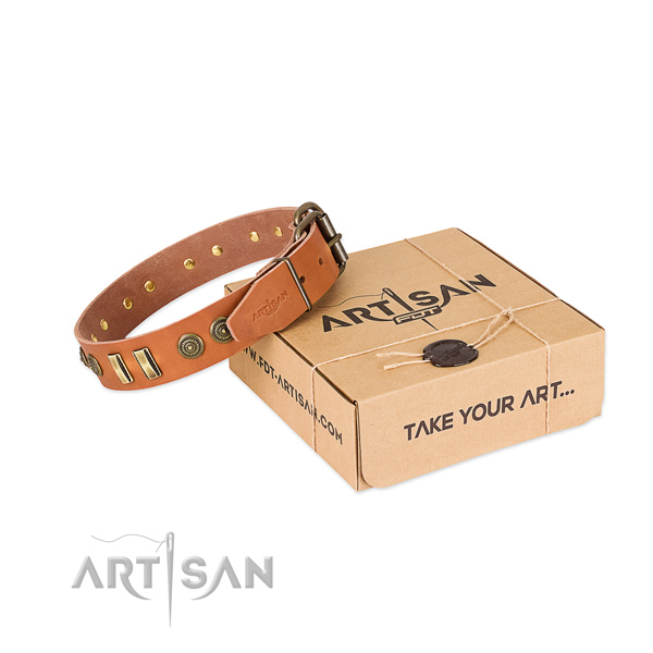 Corrosion proof studs on full grain leather dog collar for your four-legged friend