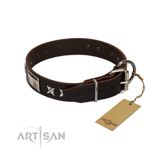 Exquisite collar of full grain genuine leather for your attractive canine