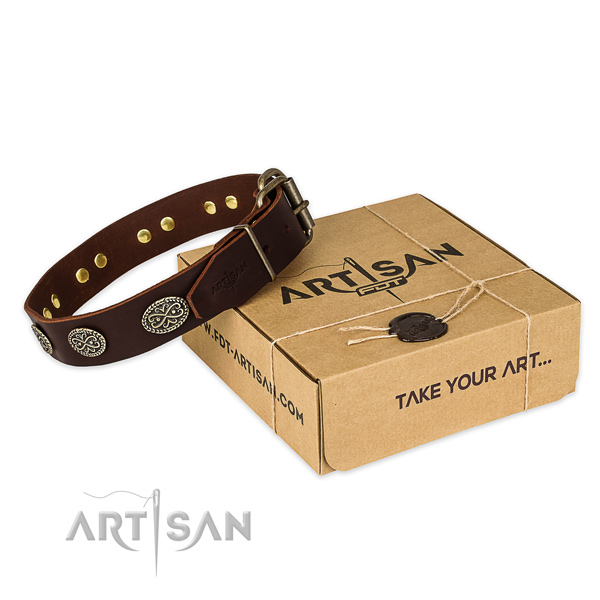 Rust resistant D-ring on full grain natural leather collar for your impressive dog