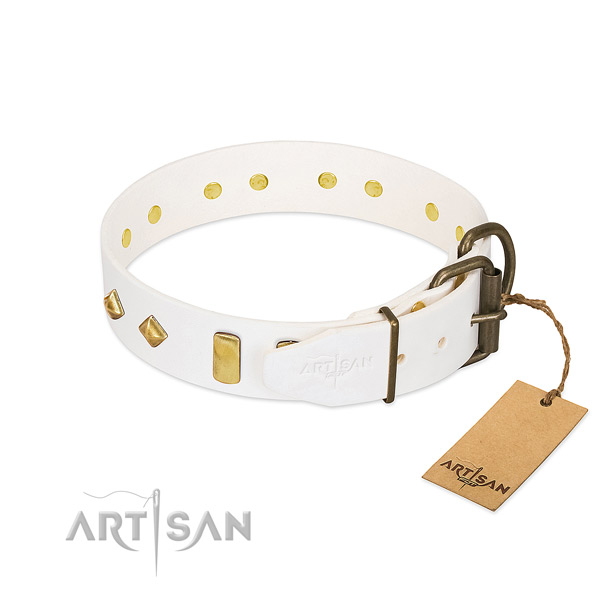 Best quality genuine leather dog collar with durable buckle