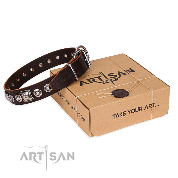 Full grain natural leather dog collar made of top rate material with corrosion proof fittings
