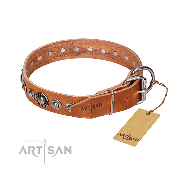 Natural genuine leather dog collar made of flexible material with corrosion resistant decorations