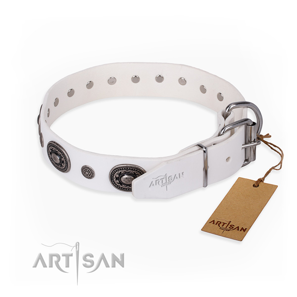 Durable full grain leather dog collar made for daily use