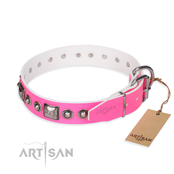 High quality full grain leather dog collar created for daily use