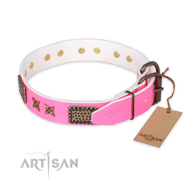 Durable D-ring on leather collar for your handsome dog