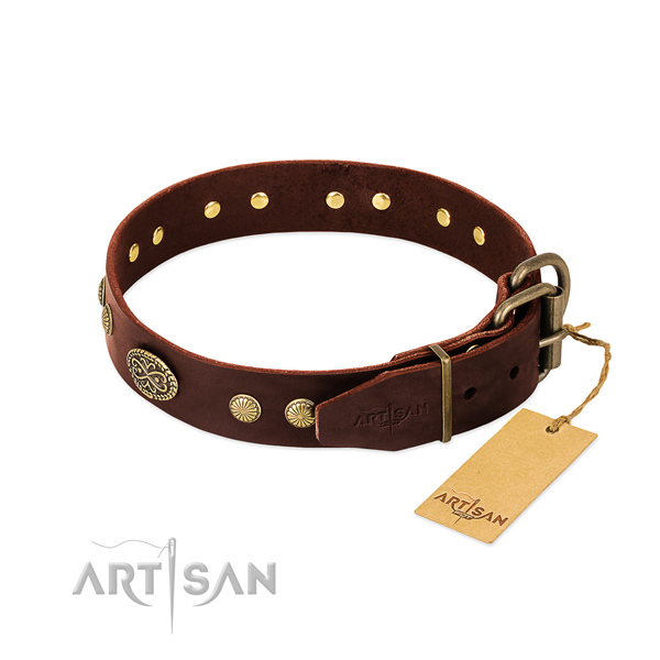 Corrosion proof hardware on full grain leather dog collar for your canine