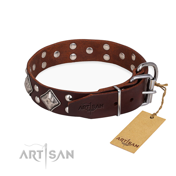 Genuine leather dog collar with exquisite strong decorations