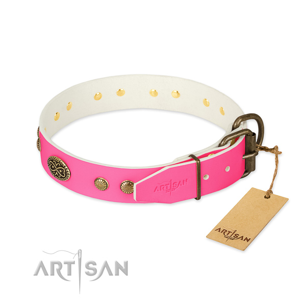 Rust-proof fittings on genuine leather dog collar for your pet