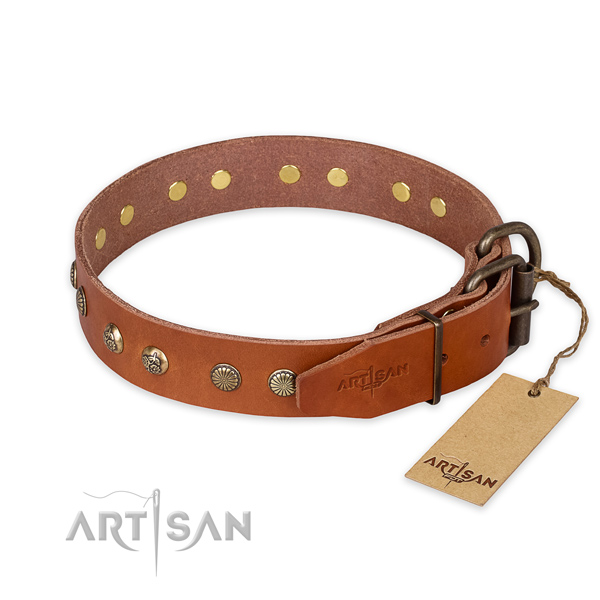 Durable D-ring on full grain genuine leather collar for your beautiful pet