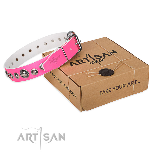Natural genuine leather dog collar made of gentle to touch material with corrosion proof D-ring