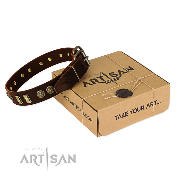 Corrosion proof fittings on genuine leather dog collar for your canine