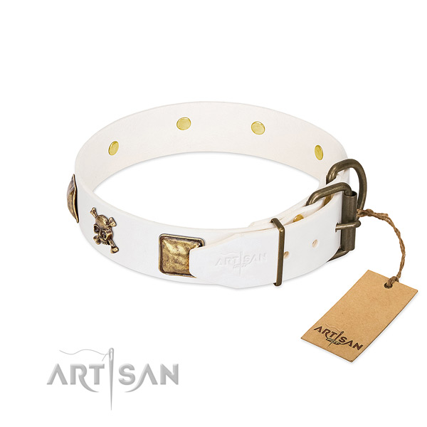 Comfy wearing full grain genuine leather dog collar with designer embellishments