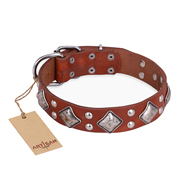 """Magic Squares"" FDT Artisan Tan Leather Newfoundland Collar with Silver-like Decor"