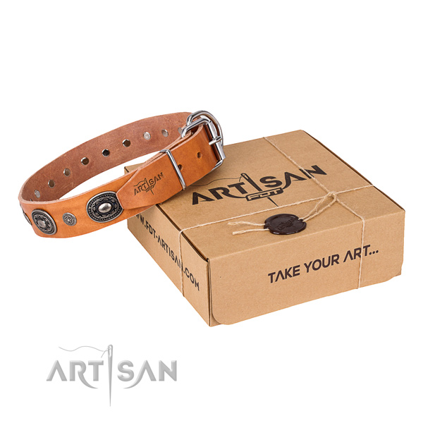 Top notch full grain genuine leather dog collar handmade for everyday walking