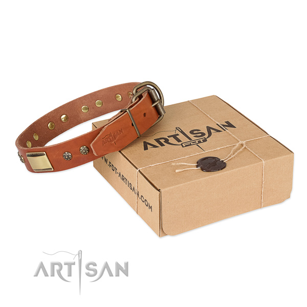 Awesome full grain natural leather collar for your lovely pet