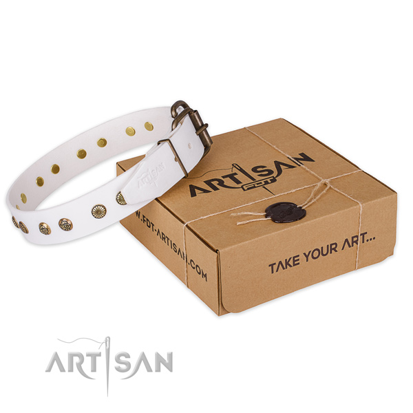 Durable buckle on genuine leather collar for your lovely doggie