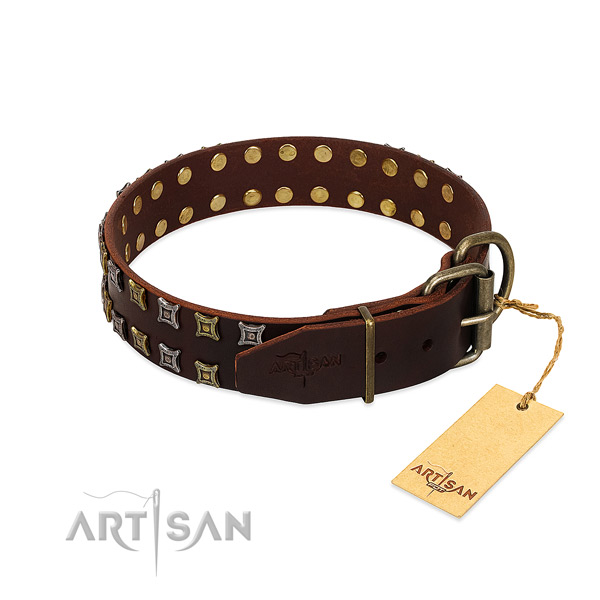 Soft full grain leather dog collar made for your doggie