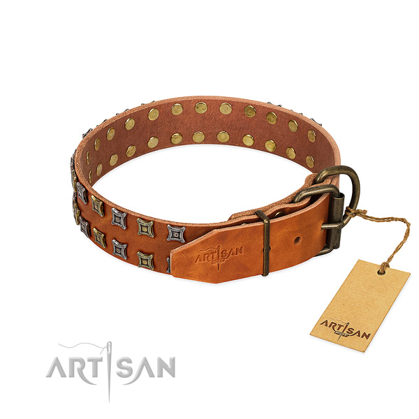 Flexible full grain leather dog collar crafted for your pet