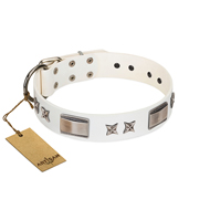 """Bling-Bling"" FDT Artisan White Leather Newfoundland Collar with Sparkling Stars and Plates"