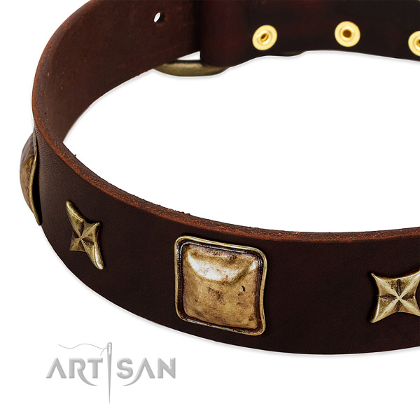 Strong hardware on genuine leather dog collar for your dog