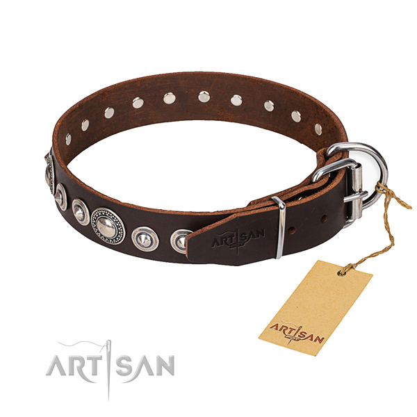 Full grain genuine leather dog collar made of soft material with reliable D-ring