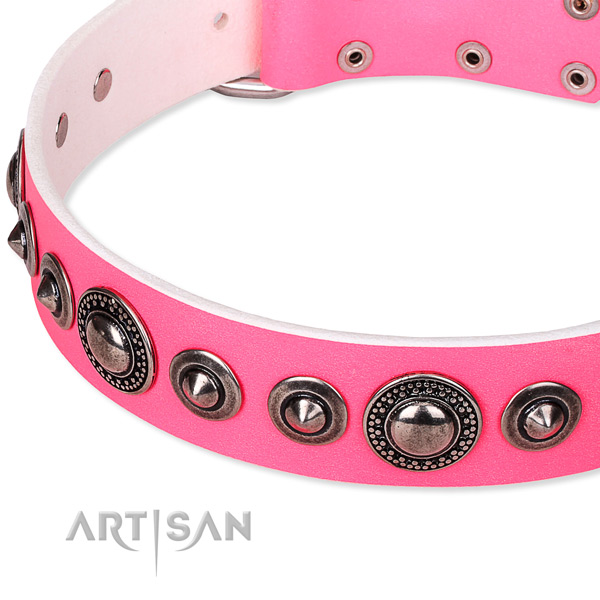 Comfy wearing embellished dog collar of high quality full grain leather