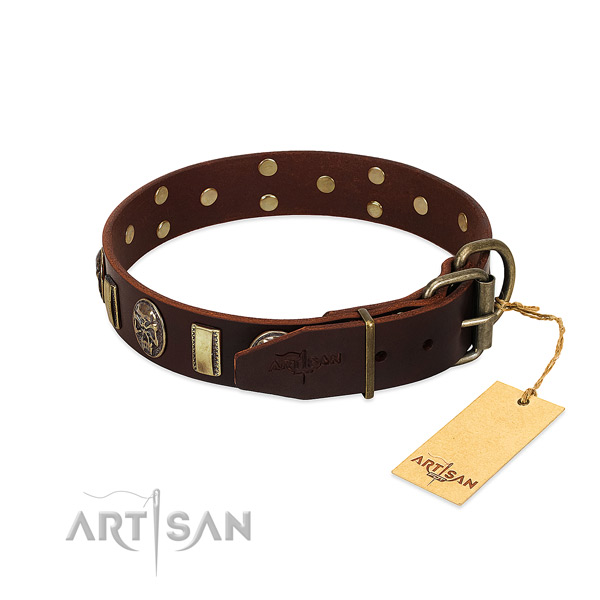 Full grain genuine leather dog collar with rust-proof traditional buckle and studs