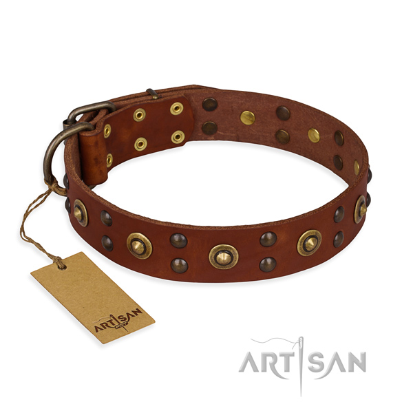 Exquisite genuine leather dog collar with durable traditional buckle