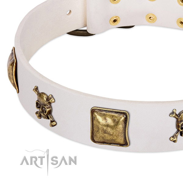 Comfortable wearing full grain natural leather dog collar with stylish embellishments