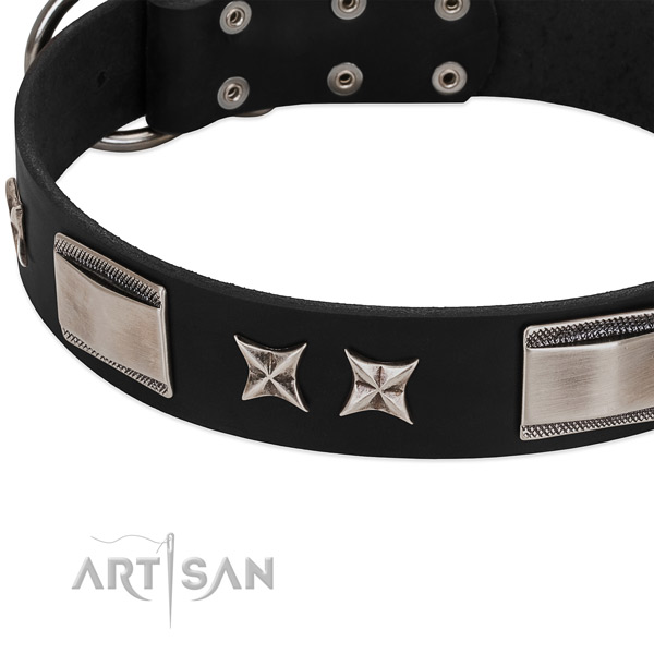 Soft to touch leather dog collar with rust resistant D-ring