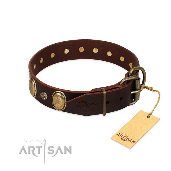 Easy wearing top rate genuine leather dog collar