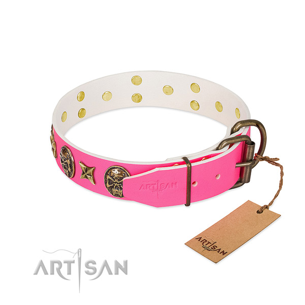 Durable D-ring on genuine leather collar for stylish walking your doggie