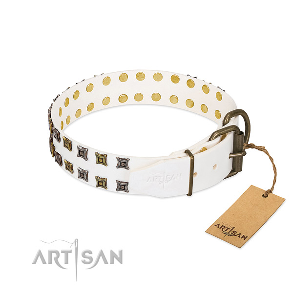 Full grain genuine leather collar with remarkable decorations for your doggie