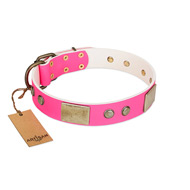 """Flower Parade"" FDT Artisan Pink Leather Newfoundland Collar with Plates and Studs"