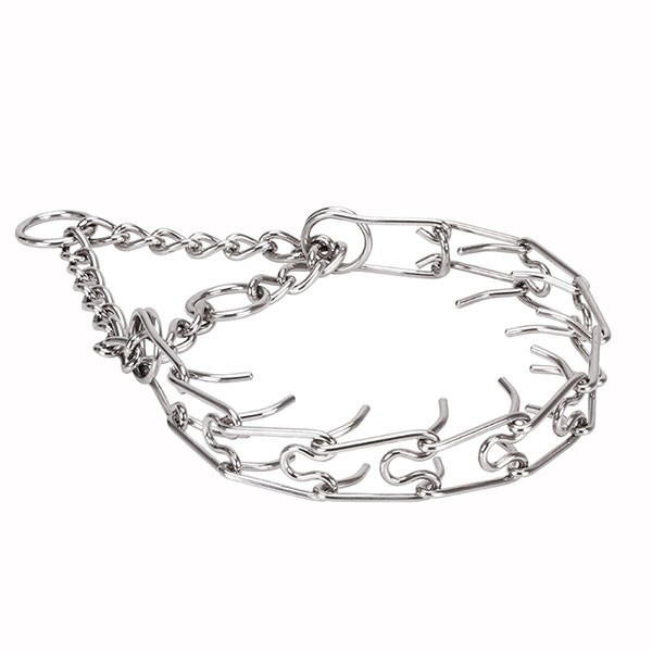 Prong collar of strong stainless steel for badly behaved dogs