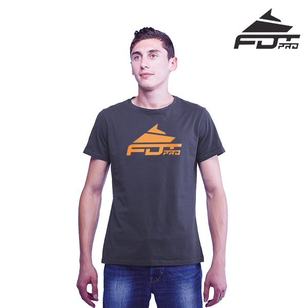 Fine Quality Cotton FDT Professional Men T-shirt of Dark Grey