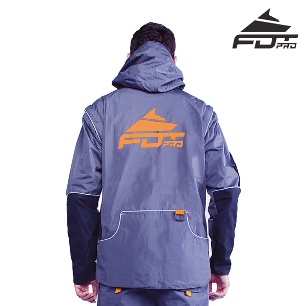 FDT Pro Dog Trainer Jacket of Grey Color with Durable Side Pockets