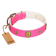 """Fashion Rush"" FDT Artisan Pink Leather Newfoundland Collar with Ovals and Stars"