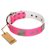 """Pink Blush"" Premium Quality FDT Artisan Pink Designer Newfoundland Collar with Plates and Studs"