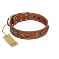 """Luxurious Life"" Premium Quality FDT Artisan Tan Leather Newfoundland Collar with Round Adornments"
