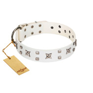 """Star Patrol"" FDT Artisan White Leather Newfoundland Collar Adorned with Stars and Studs"